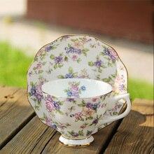 220 мл, европейский стиль, керамический кофейный набор из костяного фарфора, чашка с блюдцем, ложка, набор, ручная роспись, Cuckoo, птица, цветочный узор, черная чайная кружка