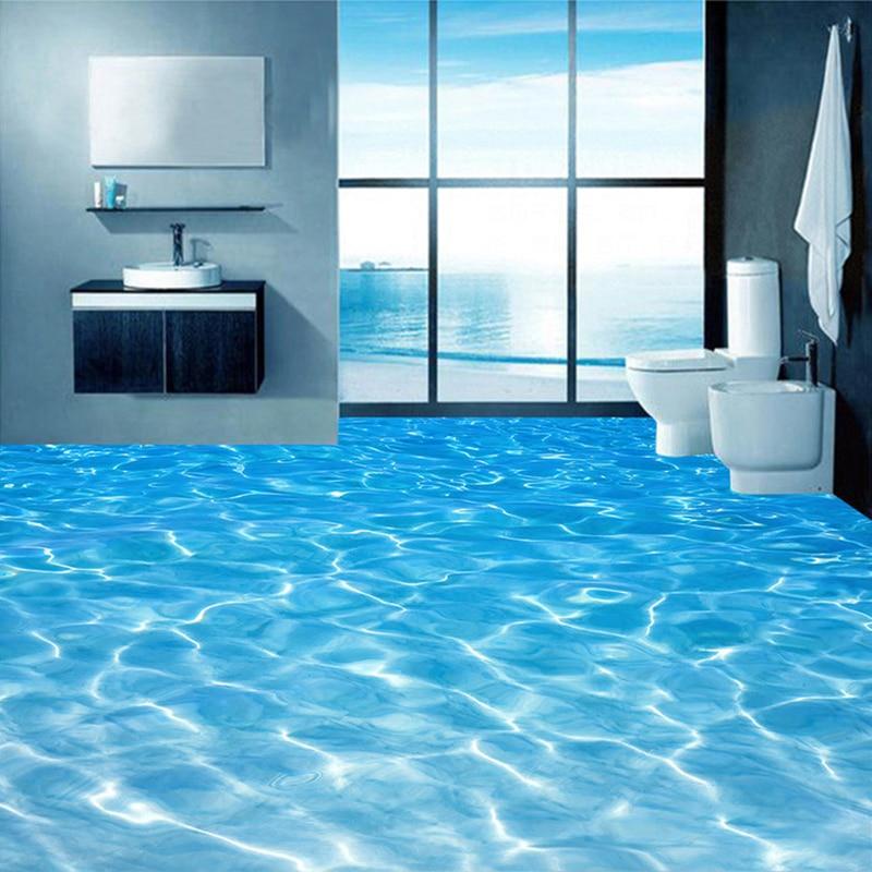 Custom 3D Floor Murals Wallpaper Sea Water Surface Ripple Photo Wallpaper PVC Waterproof Bathroom Floor Sticker Vinyl Wall Paper