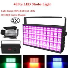 лучшая цена 4Pcs/Lot 90W LED Stroboscopic Light 48Pcs LED RGB 3IN1 Strobe Light Bar KTV DJ Equipments DMX Stage Effect Light Disco Party