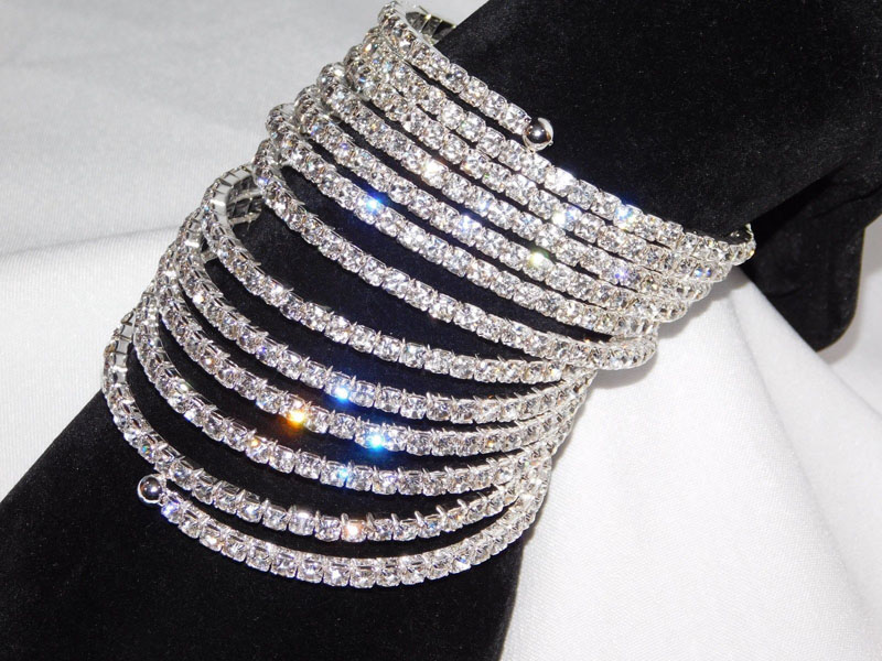 83a719dae8c 12 Rows Spiral Party Clear Rhinestone Bangle Crystal Upper Arm Bracelet Cuff  Wedding Bridal Jewelry Accessories for Women
