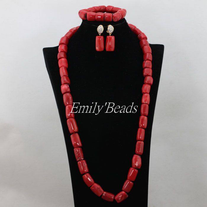 Natural Coral Beads Necklace Bracelet Earrings Sets Red African Nigerian Wedding Indian Bridal Jewelry Set Free Shipping CJ481 costume african red coral beads necklace bracelet earrings jewelry set nigerian wedding jewelry sets free shipping cj240