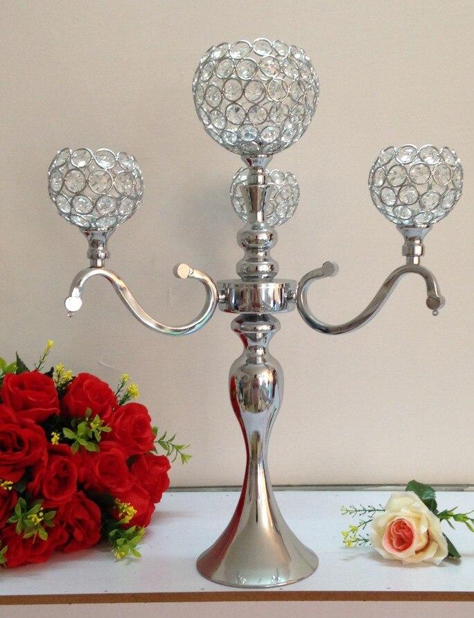 Gros 4 tête boule de cristal support de lampe de bougie de mariage bougeoir maison artisanat bougie décoration
