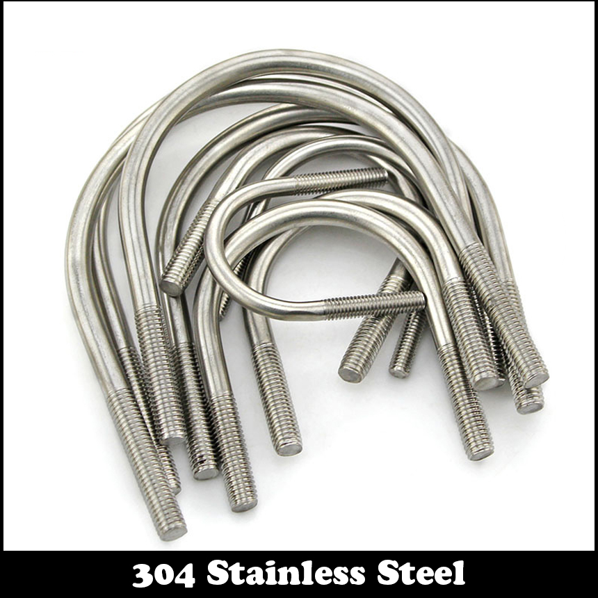 M8 M8*22 M8x22 M8*27 M8x27 M8*34 M8x34 304 Stainless Steel 304ss DIN3570 U-Bolt U Shape Type Pipe Clamp Screw Stirrup Bolt зажимы blunt 2 bolt clamp oil slick