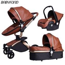 Cochecito de bebé 3 en 1 cochecito de bebé de alta calidad, cochecito de bebé plegable 2 en 1 de cuero 3 en 1