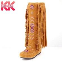 KemeKiss/Модные женские высокие сапоги из флока в китайском национальном стиле с бахромой на Плоском Каблуке, женские сапоги до колена с кисточками, размеры 34-43
