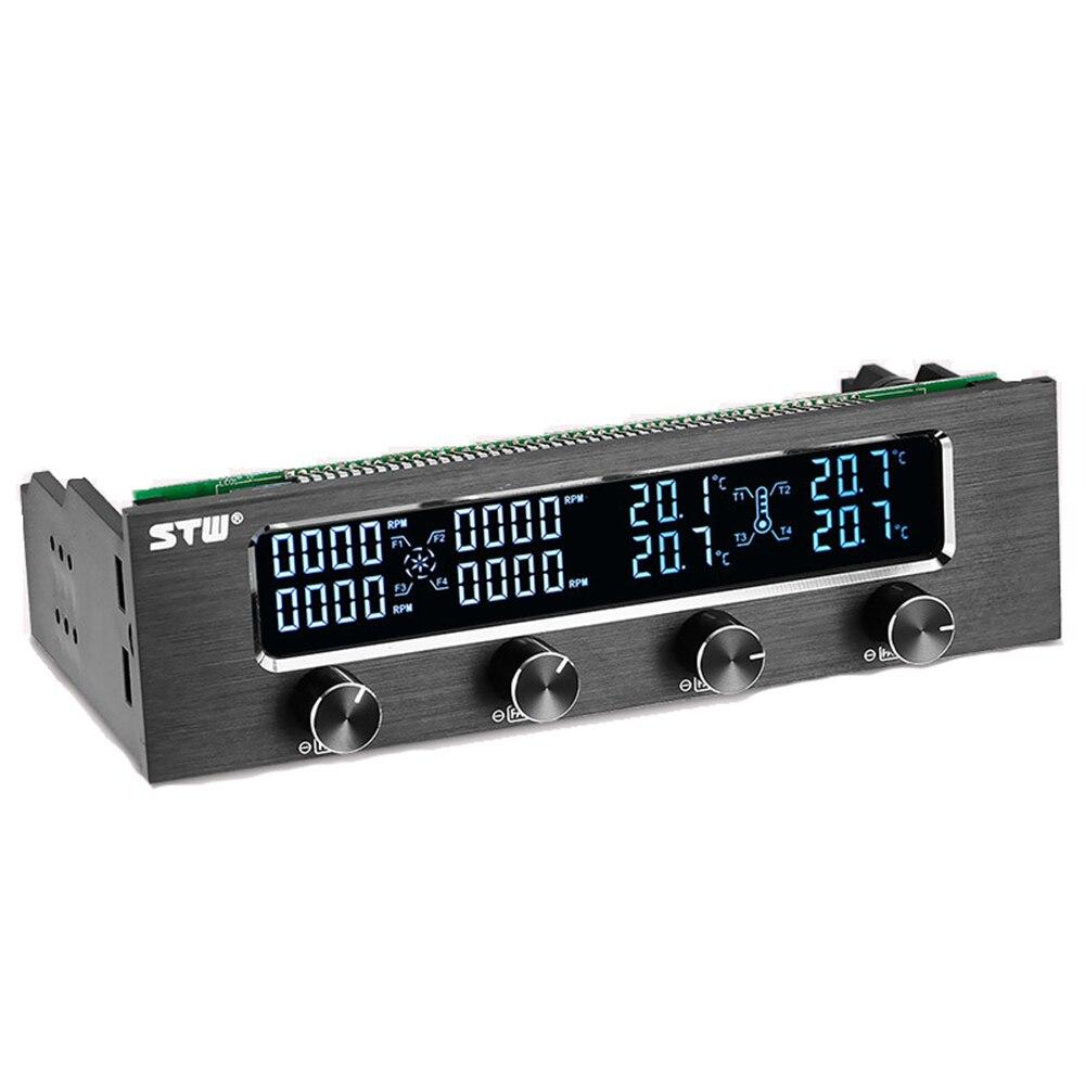 Sol-tipway STW Multi-función PC CPU 4 canales de controlador de ventilador de Control de velocidad de ajuste LCD de Panel frontal