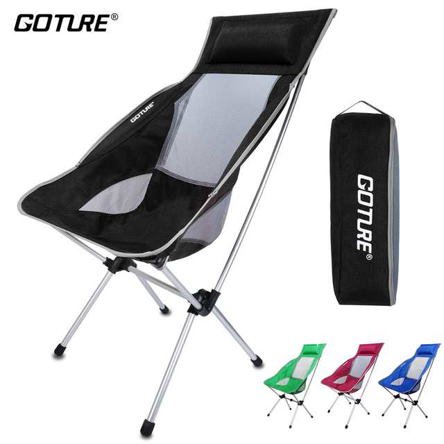 Goture Outdoor Folding Chairs Max Load 150kg Portable Lightweight Chair Fishing Seat with Backpack Bag For Camping Picnic Beach
