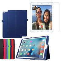 1x Clear Screen Protector Luxury Folio Stand Holder Flip Leather Case Protective Cover For Apple IPad