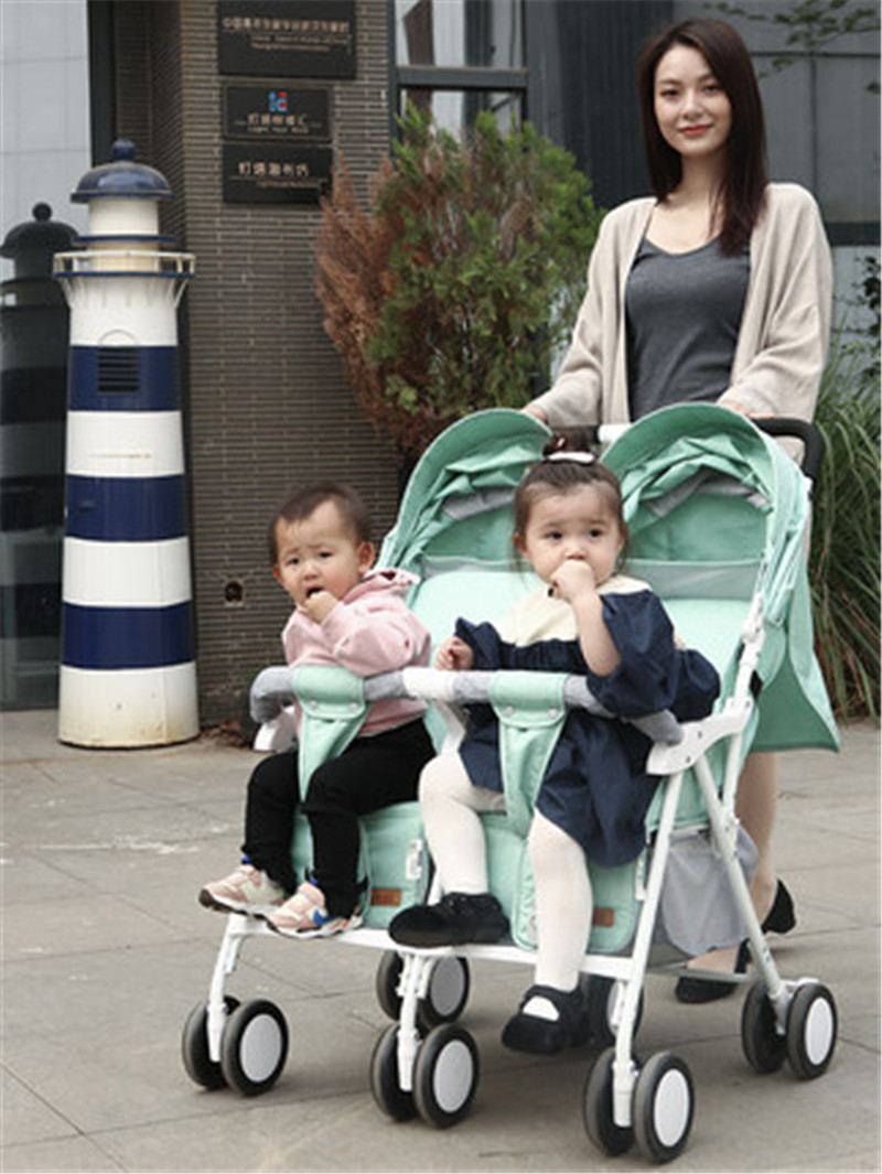 Twin baby strollers ultra light portable can sit reclining foldable folding double stroller can be placed on the plane umbrella image