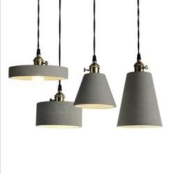LukLoy nowoczesna przemysłowa betonowa betonowa lampa wisząca wisząca lampa do kuchni Loft Office Shop dekoracja salonu|Wiszące lampki|   -