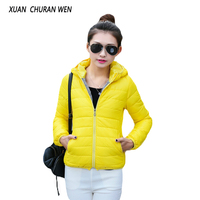 XUANCHURANWEN Women Padded Jacket Cotton Padded Thin Stand Collar Coat Autumn Winter Slim Warm Ladies Outerwear