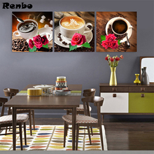 3 pieces Kitchen decor 5d diy diamond painting Flowers coffee wall art cross stitch mosaic embroidery pattern Triptych