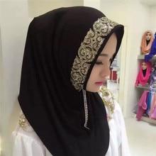 2019 Woman Solid Color Rhinestone Match Shining Sequins Chiffon Silk Popular Shawls Scarf Headband Muslim Scarves Free Shipping