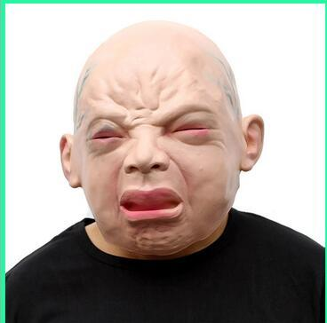 Üst Sınıf % 100% Lateks Kauçuk Ürpertici Cry Bebek Yüz Maskesi Cadılar Bayramı Partisi Insan Maskesi Kostüm Cosplay Süslemeleri Ücretsiz Kargo