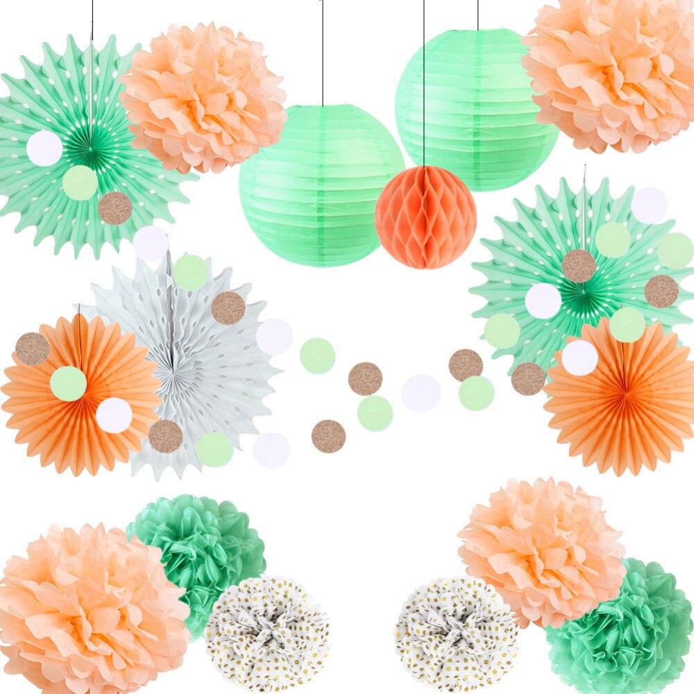Peach,Mint Green Paper Decoration Set Tissue Fans Polka Dot Pom Balls Circle Garland Wedding Shower Birthday Party
