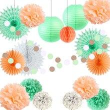 Peach,Mint Green Paper Decoration Set Tissue Paper Fans Polka Dot Pom Pom Balls Circle Garland Wedding Shower Birthday Party girls pom pom detail polka dot sweater