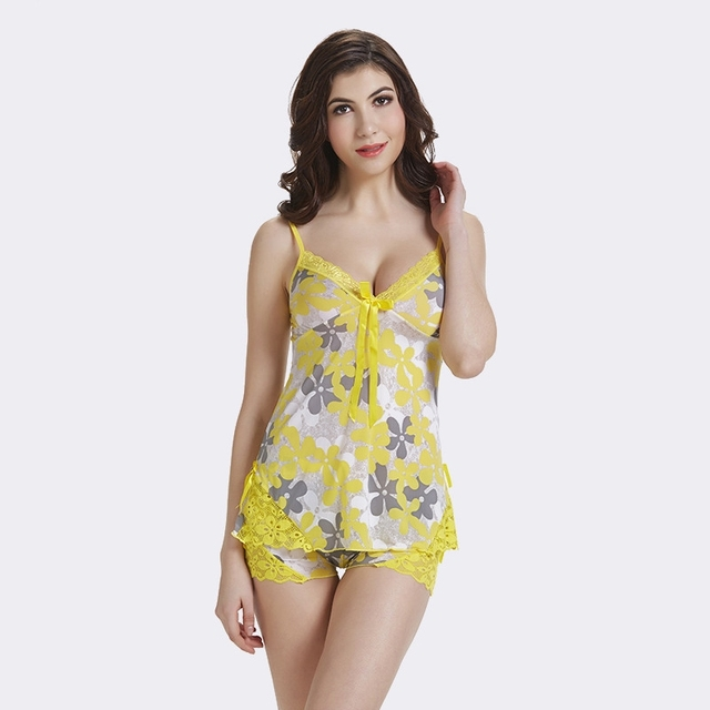 Sexy Silk Satin Pajamas Women Lace Bowknot Print Sleeveless Pijama Mujer Sleepwear  Summer 2019 Sleep Wear Lounge pyjamas S88212 9f6f3a478
