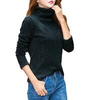 Đen caramel long sleeve cable cao cổ dệt kim áo len phụ nữ ladies cộng với kích thước cao cổ lông cừu lót dệt kim jumpers tops