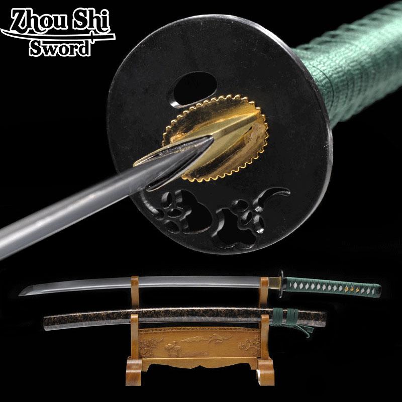 All handmade Samurai Katana sword Forged 1060 Ccarbon Steel Sheath color Green hilt Practical Sharp Metal CraftsAll handmade Samurai Katana sword Forged 1060 Ccarbon Steel Sheath color Green hilt Practical Sharp Metal Crafts