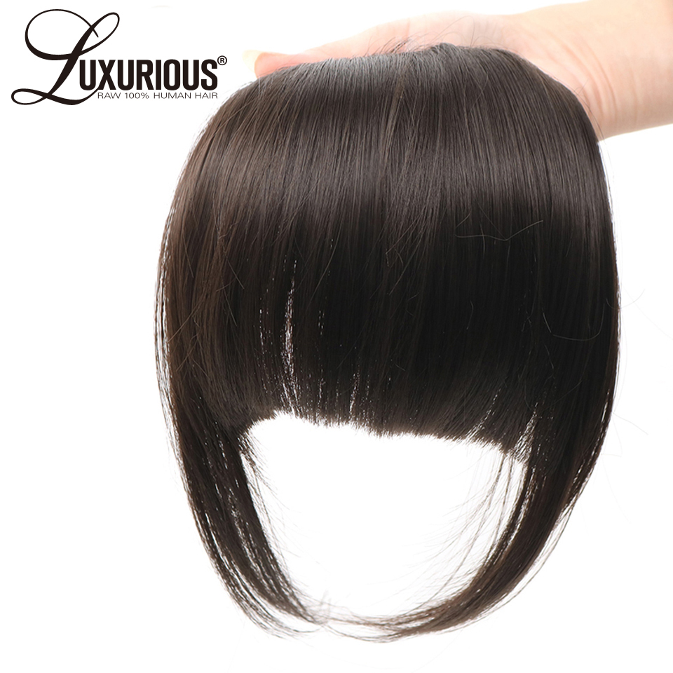 100% Malaysia Remy Human Hair Front 6inch Neat Hair Bangs Natural Black Color Clips In Human Hair Extensions 1PC Blunt Bangs