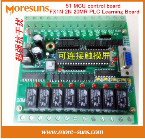 Fast Free Ship PLC domestic PLC industrial control board 51 MCU control board FX1N 2N 20MR PLC Learning Board