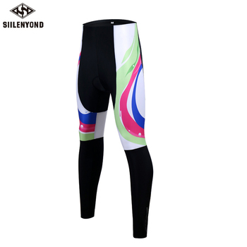 Siilenyond 2019 Women Winter 3D Gel Padded Cycling Pants Shockproof Mountain Bike Cycling Tight Racing Bicycle Cycling Trousers