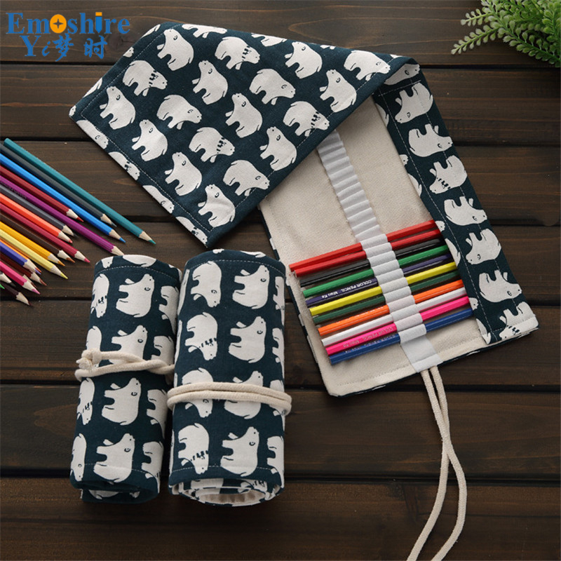 Cartoon Animals Polar Bear Pencil Canvas Pencil Case Large Capacity Student Art Lead Storage Stationery Box Pencil Bag B227 deli gradient candy color large capacity zipper pencil stationery case student pencil bag