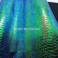 M006-2 30x134 см тиснением змея Python зерна Кожезаменитель, перламутровые змея из искусственной кожи зеленого цвета
