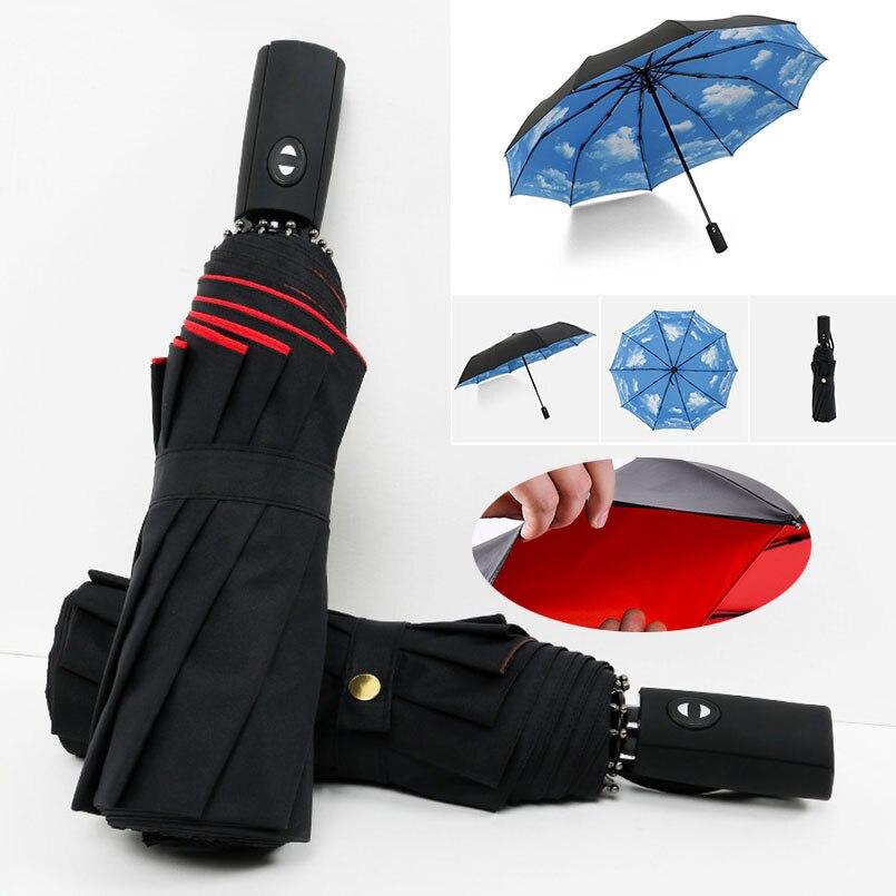 Completo automático oversize reforçado guarda-chuva três dobrável masculino feminino guarda-sol guarda-chuva chuva feminino à prova de vento guarda-chuva de negócios