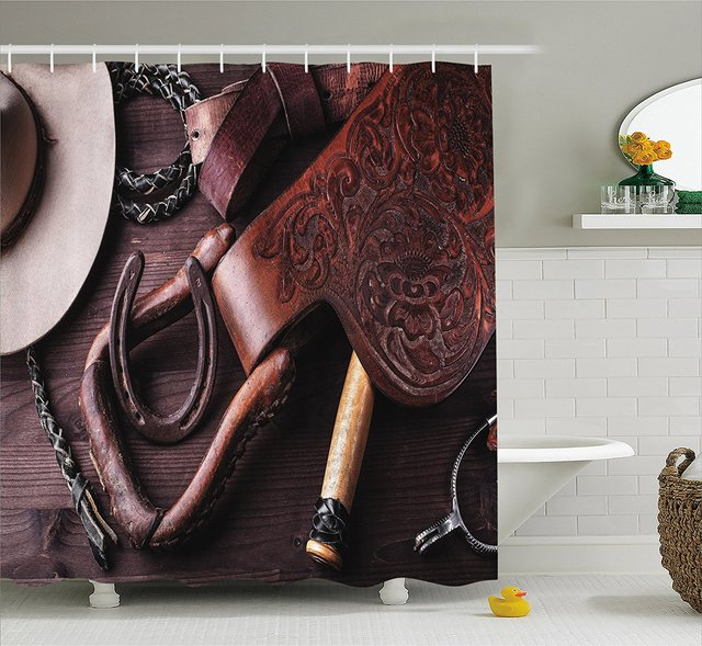 Western Decor Shower Curtain Clothes And Accessories For Horse Riding With Kitsch Details Rural Sports Themed Bathroom