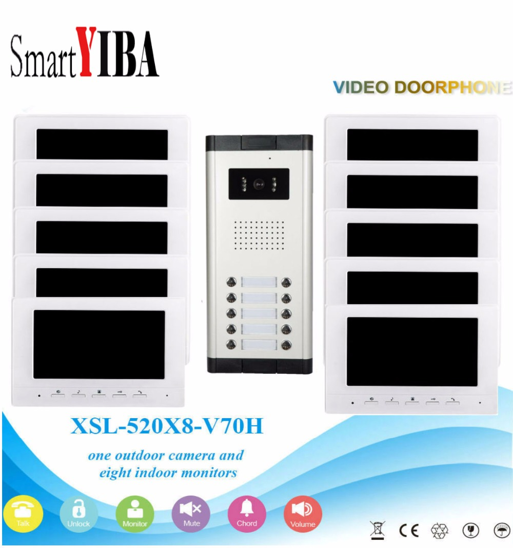 SmartYIBA 7Inch Wired Color Video Door Phone Video Doorbell Intercom System Kit Set 10 monitors+1 IR camera with 10 buttons