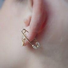 3f8d78636c4c 2019 alta calidad Chapado en color oro clip seguridad pin tachuelas moda  elegante mujeres joyería delicada cz multi piercing pen.