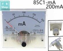 1 tamanho análogo do medidor 64*56mm do ampère da série do amperímetro 85c1 do ponteiro da c.c. dos pces 85c1-ma 200ma