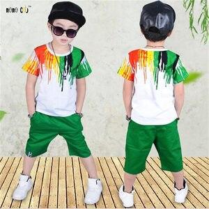 Image 3 - Подростковые спортивные костюмы, комплекты летней одежды для мальчиков, футболка с коротким рукавом и повседневные брюки, От 3 до 10 лет Детская одежда для мальчиков