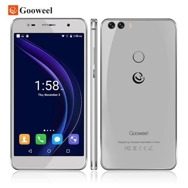 Original Gooweel M8 cell phone Dual 2.5D Glass 5.5 inch HD IPS  MTK6580 quad core Mobile phone  Fingerprint ID13.0MP smartphone