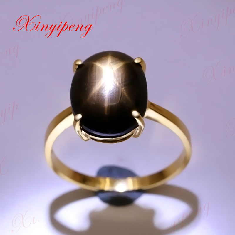 Xinyipeng18K yellow gold inlaid natural starlight sapphire ring women beautiful color with stars