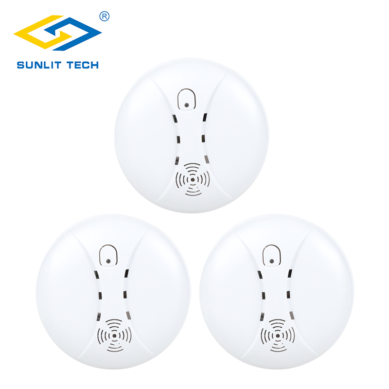 3pcs 433MHz Home Kitchen Security Wireless Smoke Detector Alarm for Burglar Intruder Fire Smoke Sensor Wifi GSM Alarm Systems ...