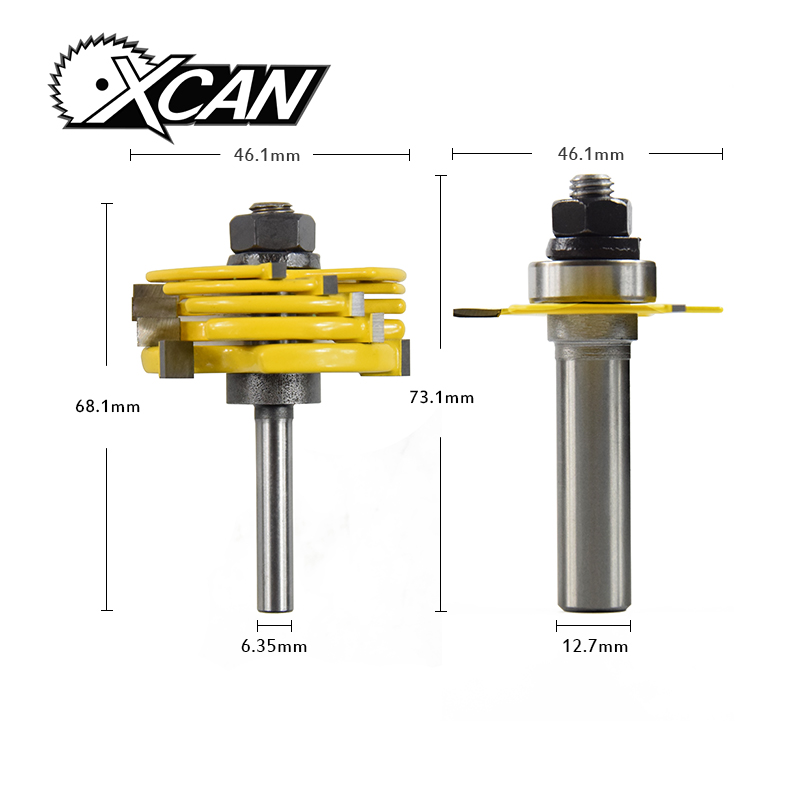 XCAN 2pcs/set 1/2 1/4 ShankT-Slot  Router Bit Adjustable 3 Wing Slot Wood Cutter For Power Tool wood Milling Cutters high grade carbide alloy 1 2 shank 2 1 4 dia bottom cleaning router bit woodworking milling cutter for mdf wood 55mm mayitr