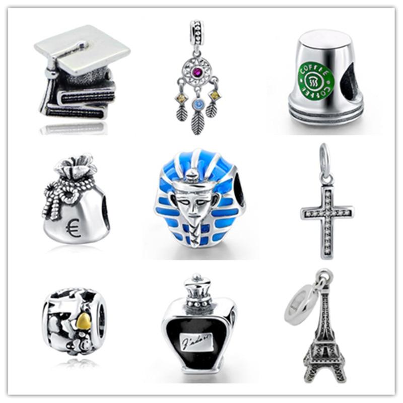 Strollgirl Genuine 925 Sterling Silver Eiffel Tower coffee cup Charm Bead Fit Original DIY pandora Bracelet Jewelry Making Gift