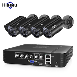 Hiseeu نظام كاميرا CCTV 4CH 720 P/1080 P العهد الأمن كاميرا DVR كيت CCTV للماء في الهواء الطلق نظام مراقبة بالفيديو المنزل HDD