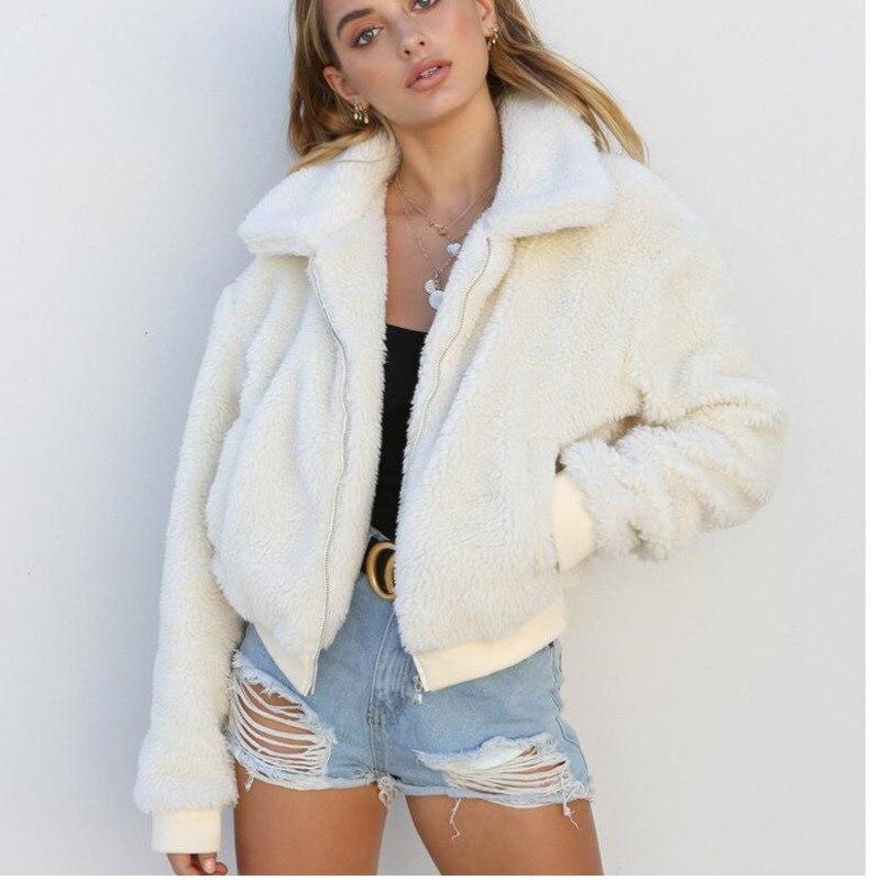 Otoño Peluche Invierno Cremallera Outwear Coat Fur Chaqueta Elegante Mujer 2018 Blanco Caliente Mujeres Suave caqui Abrigo verde negro Casual Faux qSn7cFY