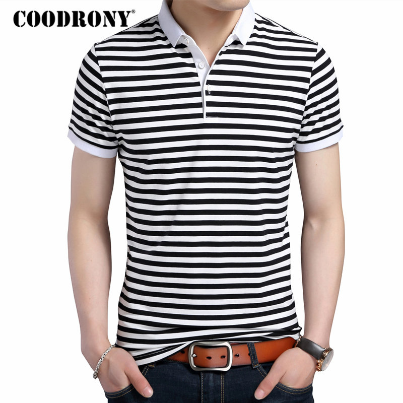 COODRONY 2018 Summer New Fashion Striped Turn-down Collar Tee   Shirts   Short Sleeve   T  -  Shirt   Men 100% Pure Cotton   T     Shirt   Men S7611