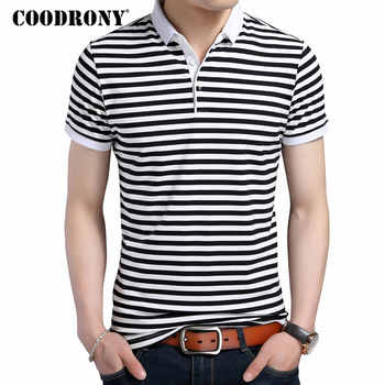 COODRONY 2019 Summer New Fashion Striped Turn-down Collar Tee Shirts Short Sleeve T-Shirt Men 100% Pure Cotton T Shirt Men S7611 - DISCOUNT ITEM  49% OFF All Category