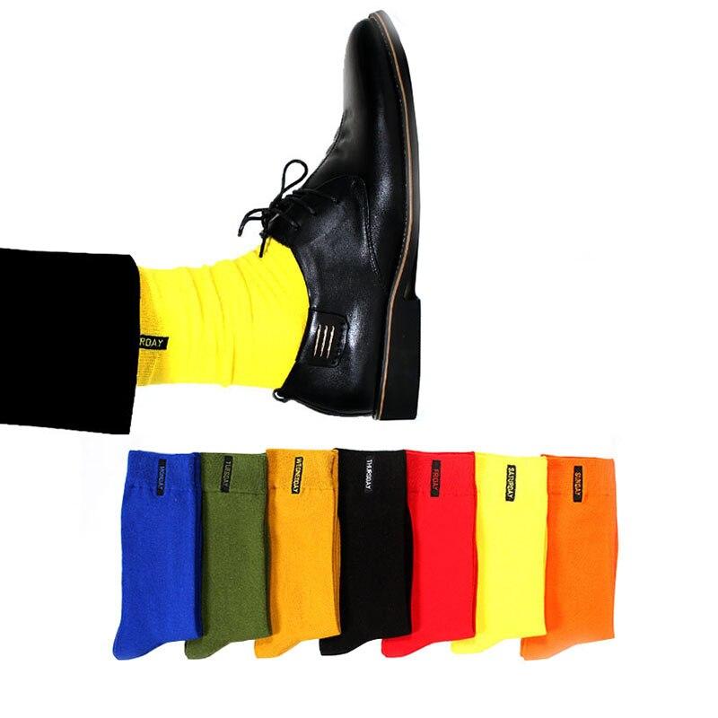 7 Pairs Cotton Solid Men's Happy   Socks   Anti-Bacterial Comfort Deodorant Casual Boys   Socks   Fashion Candy Color Week   Socks   Meias