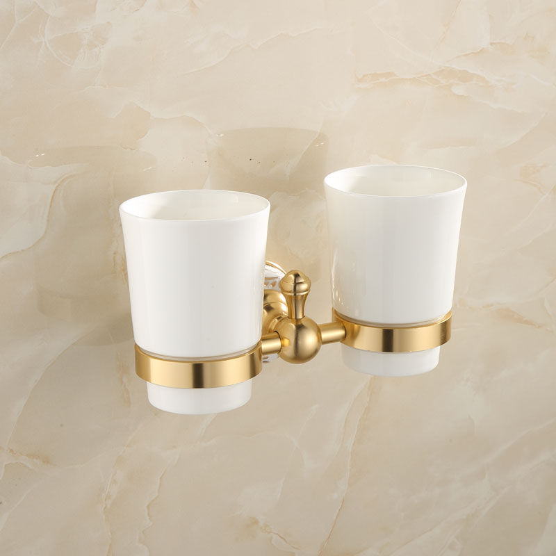 European antique gold double cups brushed bathroom - Wall mounted ceramic bathroom accessories ...