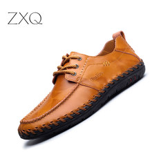 ZXQ High Quality Men Oxford Shoes 2017 Casual Leather Men Shoes Lace Up Hand Sewing Retro