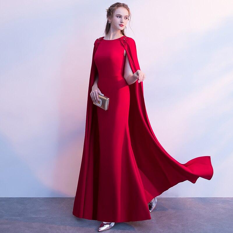 bc3be34e1 Piso Capa Xva Formal Maxi borgoña Rojo Boda Vino Rojo Vestido Banquete De  Para Largo Chales Longitud Gran Mujer ...