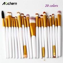 Aochern 20pcs Eye Makeup Brushes Set Eyeshadow Blending Powder Foundation Eyeshadading Lip Eyeliner Brush Cosmetic Tool #1003