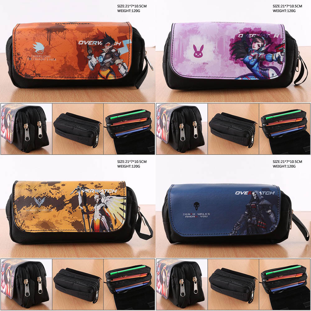 NEW Anime Game Overwatch Student Pencil Bag Tracer Stationery Bag Reaper Fashion Makeup Bag OW/DVA/Mercy Pencil Pouch Bag all characters tracer reaper widowmaker action figure ow game keychain pendant key accessories ltx1