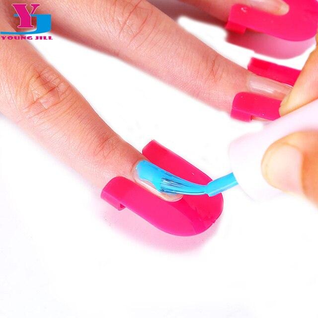 10 Set Plastic Rose Kleur Manicure Set Nail Art Polish Bescherming